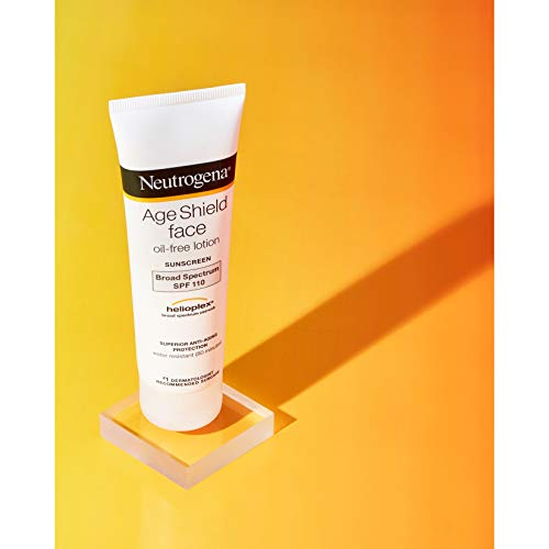 Neutrogena Age Shield Face Lotion Sunscreen with Broad Spectrum SPF 110, Oil-Free & Non-Comedogenic Moisturizing Sunscreen to Prevent Signs of Aging, 3 Fl. Oz (Pack of 1)