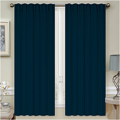 "Mellanni Thermal Insulated Blackout Curtains - 2 Panels - Window Treatments/Drapes for Bedroom, Living Room with Pole Top, 7 Back Loops and 2 Tiebacks (2 Panels, 52"" x 63"" Each, Navy)"