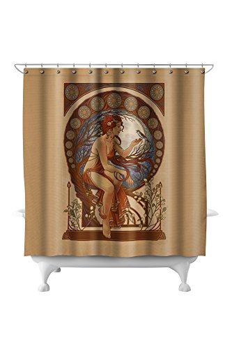 Woman and Bird - Art Nouveau (71x74 Polyester Shower Curtain)