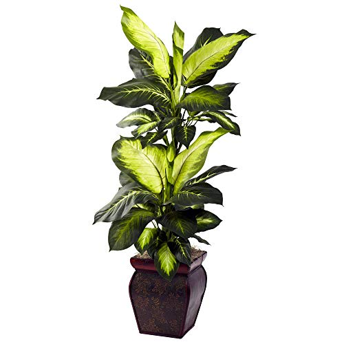 Decorative House Plants - Nearly Natural Golden Dieffenbachia with Decorative Planter, Green