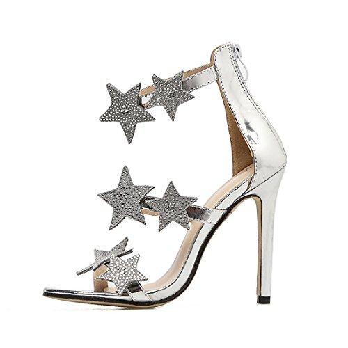 Diamants Strap Toe Étincelantes Sandales Étoiles Argent Parti Chaussures Dames Hauts Strappy Femmes Peep Zpfme Stiletto De Robe Pumps Mariage Talons Cheville Sexy 6xzXwqvpw