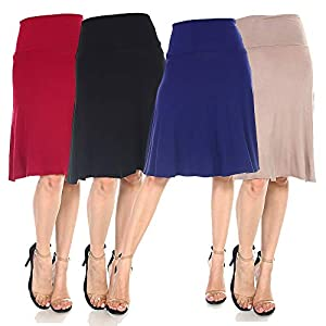 4 Pack of Women's Midi A-Line Basic Skirts – Solid with Fold Over Waist Band Flare Design 17