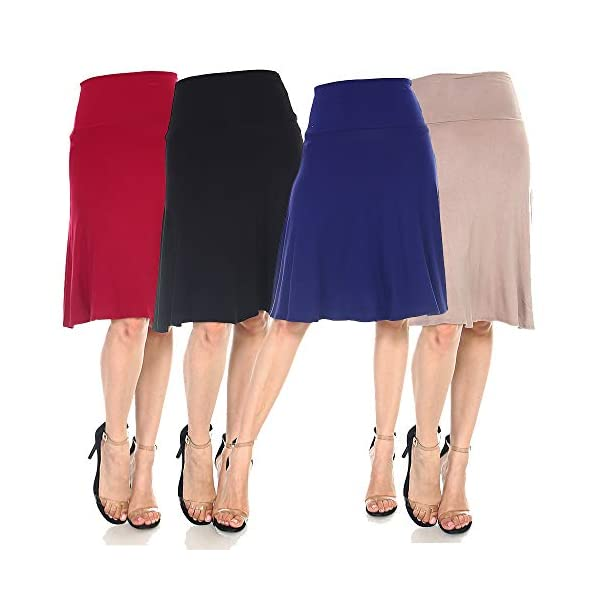 4 Pack of Women's Midi A-Line Basic Skirts – Solid with Fold Over Waist Band Flare Design 14