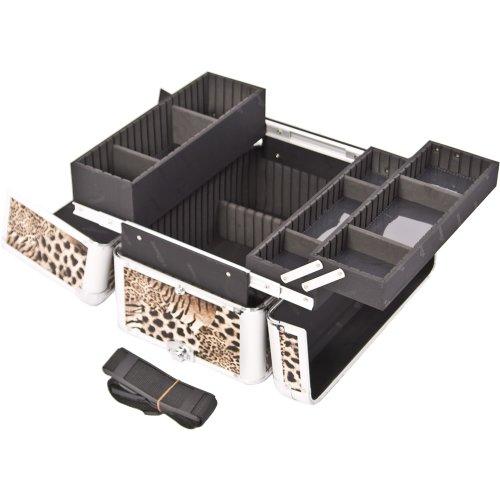 SUNRISE Professional Makeup Case E3302 Aluminum, 3 Easy-Slide Trays, Adjustable Drawer Dividers, Locking with Shoulder Strap, Brown Leopard