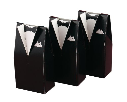 Hortense B. Hewitt Wedding Accessories Tuxedo Favor Boxes, Black, Pack of 25