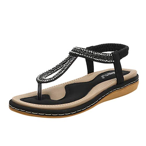 Kauneus Women's Flat Sandals, Summer Beach Flip Flops Thong T-Strap Flat Rhinestone Beads Slipper Bohemia Elastic Slip On Black (Madden 25 Mobile)
