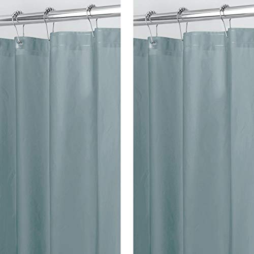 mDesign Plastic, Waterproof, Mold/Mildew Resistant, Heavy Duty PEVA Shower Curtain Liner for Bathroom Showers and Bathtubs - No Odor - 3 Gauge, 72 inches x 72 inches - 2 Pack - Smoke Gray