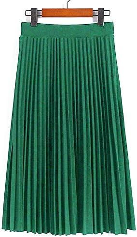 HEHEAB Falda,Jade Verde Color Sólido Poliéster De Alta Moda Mujer ...