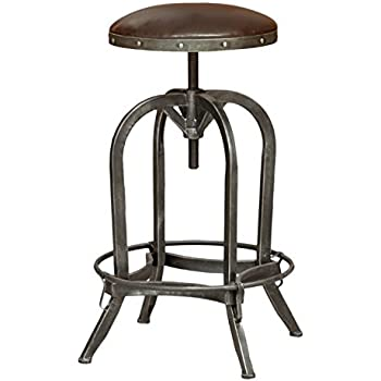 Amazon Com Bowery Hill 26 Quot Leather Adjustable Bar Stool