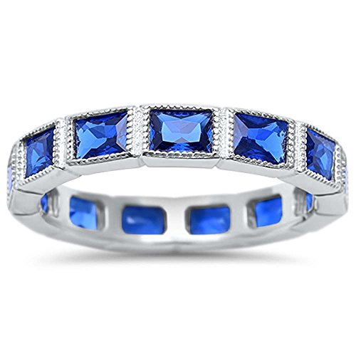 (Sterling Silver Eternity Baguette Simulated Blue Sapphire Stacklable Wedding Band Ring Sizes 7)