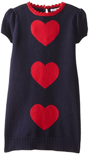 Navy and Red Heart Sweater Dress for Girls