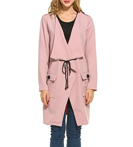 Meaneor Women's Plus Size Open Front Lightweight Casual Trench Coat Pink M (Pink Coat)