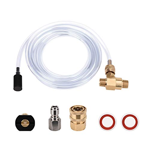 Washer Siphon - FUNTECK Pressure Washer Chemical Injector Kit Adjustable Soap Dispenser, 3/8 inch Quick Connect, 10 FT Siphon Hose, Come with a Black Soap Nozzle and Teflon Tape