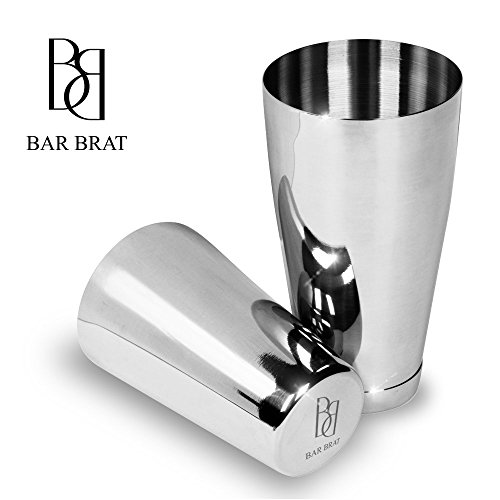 4 Piece Boston Shaker Bar Set by Bar Brat ™ / Bonus 130+ Cocktail Recipes (ebook) / Bonus Jigger/Mix Any Drink To Perfection