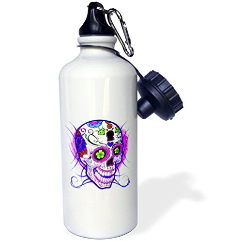 3dRose Diamond Sugar Skull. Purple. -Sports Water Bottle, 21oz (wb_193527_1), 21 oz, Multicolored