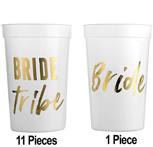 MITO INC (12 Pack) Wild Bride and Bride Tribe - White and Gold Cups for a Bachelorette Party