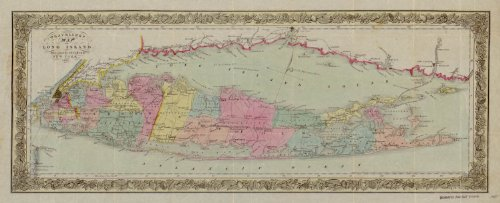 - VintPrint Map Poster - Travellers map of Long Island. - 24