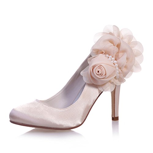 Sarahbridal Women's Pointed Toe Satin Flower Pearl Wedding Party Court Shoes Bridal Prom Shoes SZXF5623-11 Champagne HHWd5akT