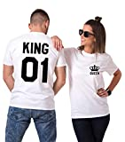 King Queen Shirts Matching Couple Shirts His Her Shirts Matching Outfits (White, King-L+Queen-S)