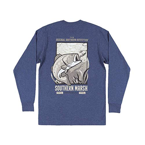 Southern Marsh Vistas Bass Long Sleeve Tee in Washed Navy (XX-Large, Washed Navy)