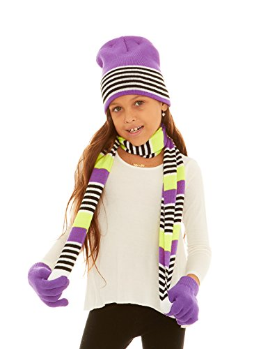 S.W.A.K Girls Knit Hat, Scarf And Gloves Set - Purple/Yellow Combo