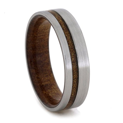 Kauri Wood 6mm Comfort-Fit Brushed Titanium Wedding Band, Size 11 by The Men's Jewelry Store (Unisex Jewelry)
