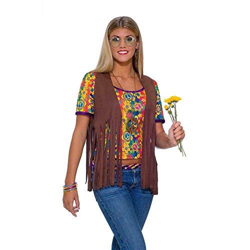 Hippie Vest Adult Costume, Standard (One-Size), Brown (Adult Hippie Costume Vest)