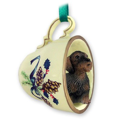 - Conversation Concepts Wire Haired Dachshund Red Tea Cup Green Holiday Ornament