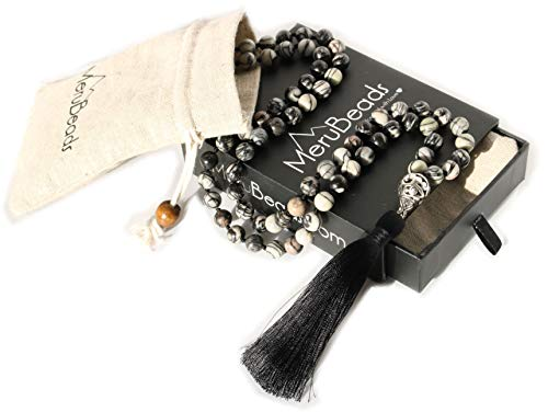- Premium Black Veined Jasper Mala Beads Necklace - Handmade Mala Necklace - Japa Mala - Meditation Necklace - Yoga Jewelry