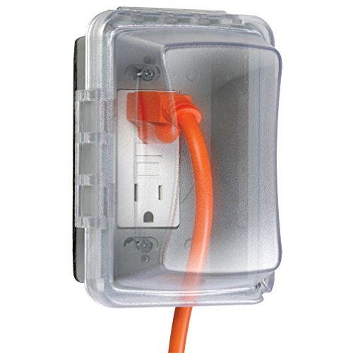 TayMac MM510C Weatherproof Single Outlet Cover Outdoor Receptacle Protector, 3-1/4 Inches Deep, Clear ()