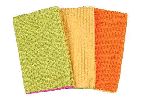 Ritz 16 by 19-Inch Solid Microfiber Kitchen Dish Towel, Green/Yellow/Orange, ()