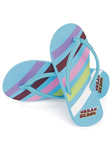 Urban Beach - Kinder Mädchen Swoosh Design Flip Flops - Blau, UK12 EU31