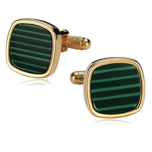 - Aooaz Cufflinks for Men Stainless Steel Rounded Corners Gold Green Shirt Dress Suit 1.8X1.8CM Gold Green