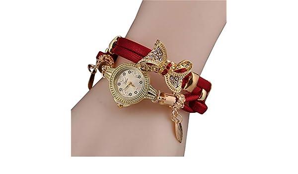 Amazon.com: Women Butterfly Rhinestone Round Quartz Analog Bracelet Watch Wristwatch: Clothing