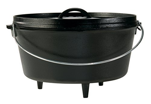 Lodge 8 Quart Camp Dutch Oven. 12 Inch Pre Seasoned Cast Iron Pot and Lid with Handle for Camp Cooking (Certified Refurbished) (Lodge Camp Dutch Oven Cooking 101 Cookbook)