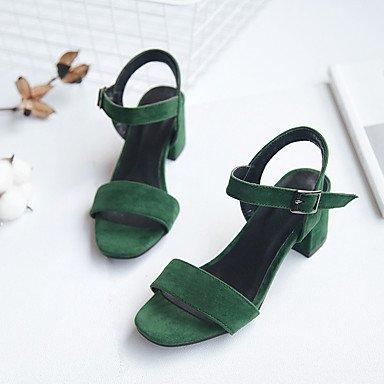 Semicuero LvYuan Sandalias Negro Robusto Green Otro Vestido Tacón xxqwXC1af6