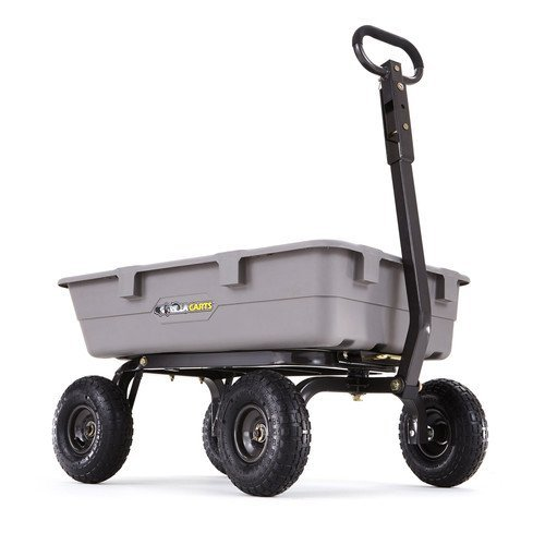 Gorilla-Carts-Poly-Garden-Dump-Cart-with-Steel-Frame-and-10-Pneumatic-Tires-with-a-Capacity-of-800-lb-Gray