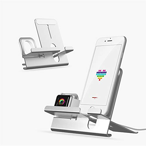 Price comparison product image JDgoods 2 in1 Apple iPhone iWatch AirPod Charging Dock Station Holder GraySilver (Silver)