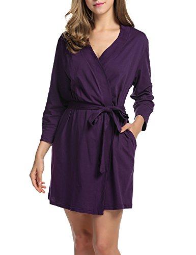Hotouch Women's Kimono Robes Soft Cotton Nightwear Short Style Purple M (Robe Womens Cotton)