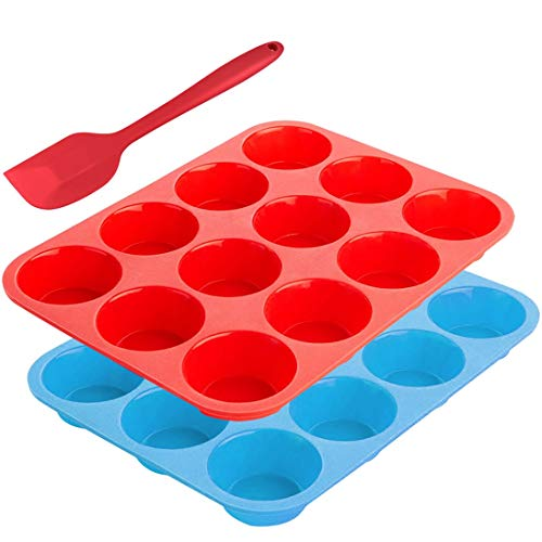 12-Cup Silicone Muffin Mold Bonus with Spatula, SourceTon 3 pcs pack of Muffin Mold and Spatula Set, Non-Stick Baking Pan, Flexible, Cupcake Pans, Dishwasher, Oven, Microwave Oven Safe. Blue + ()