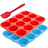 12-Cup Silicone Muffin Mold Bonus with Spatula, SourceTon 3 pcs pack of Muffin Mold and Spatula Set, Non-Stick Baking Pan, Flexible, Cupcake Pans, Dishwasher, Oven, Microwave Oven Safe. Blue + Red