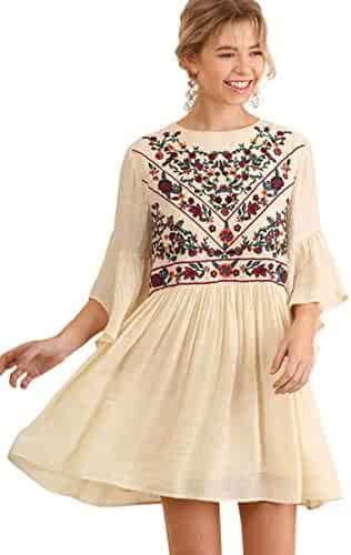 149f235c2654 Umgee Women's Floral Embroidered Keyhole Bell Sleeve Mini Dress Bohemian
