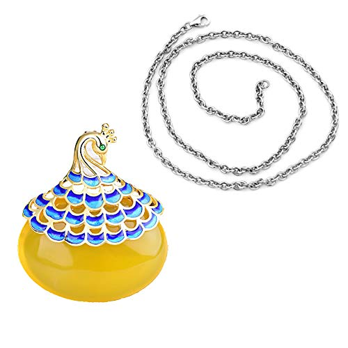 Udecoroption November Birthstone Necklace, Peacock Necklace Yellow Topaz,18 K Gold Plated Gem Necklace with Cloisonne Pedant and Sterling Silver Chain for Girls