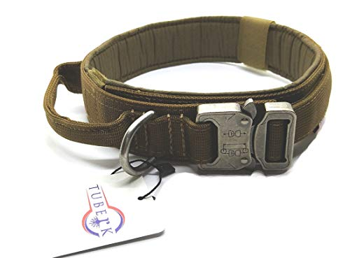 Tuberk Tactical Dog Collar, Military Training Control Handle, Adjustable, Velcro Area, Naylon Dog Collar (L (17.7