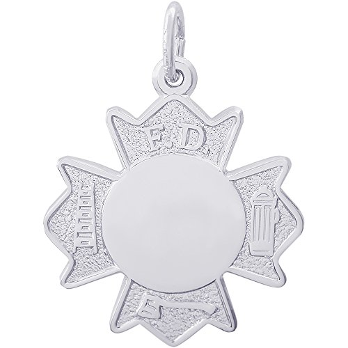 Fire Department Badge Charm - Rembrandt Charms Sterling Silver Fire Department Badge Charm (20 x 20 mm)