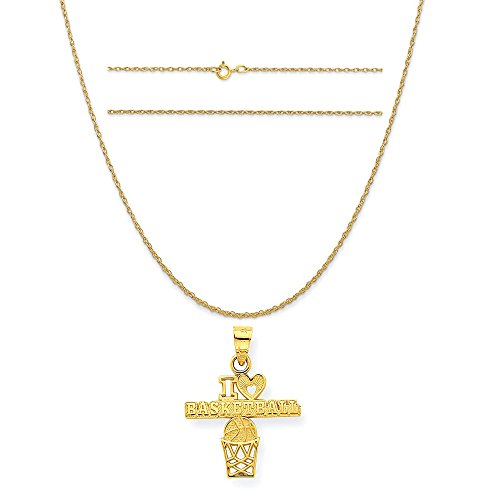 10k Yellow Gold I Love Basketball Charm on a 14K Yellow Gold Carded Rope Chain Necklace, 20