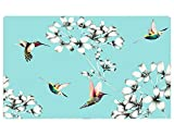 Gentle Meow Home Creative 50-Inch TV Cloth Decorative Dustproof Cover, Light Blue and Birds