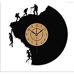 JIAOHJ Climbing Series Vinyl Record Wall Clock,Hanging Living Room Table Clock,Fashion/Art/Design/Creative/Simple/Modern/Wall Clock,E,30cm