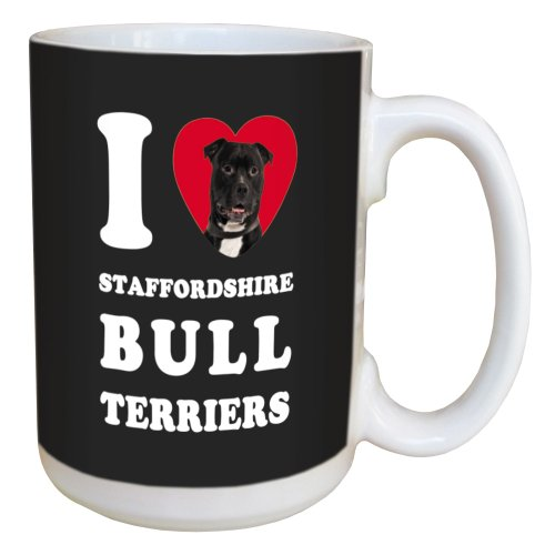 Tree Free Greetings LM45126 I Heart Staffordshire Bull Terriers Ceramic Mug with Full-Sized Handle, 15-Ounce, Black and ()
