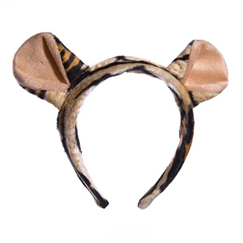 [Wildlife Tree Plush Tiger Ears Headband Accessory for Tiger Costume, Cosplay, Pretend Animal Play or Safari Party Costumes] (Adult Tiger Mask)